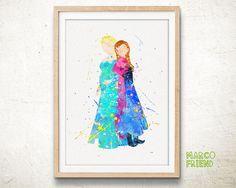 Disney Frozen Elsa Anna Watercolor Art Print Poster - Wall Art - Watercolor Painting - Nursery Decor - Gifts - Home Deco - Kids Decor - 310