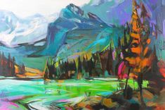 Mountain of Colors, acrylic landscape painting by Becky Holuk | Effusion Art Gallery + Glass Studio, Invermere BC River Painting, Boat Painting, Modern Art, Contemporary Art, Mountain Paintings, Canadian Artists, Landscape Paintings, Art Gallery, Inspired