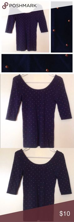 Navy Scoop Neck Tee with Pink Polka Dots Form fitting tee with deep scoop neck in navy with pink polka dots. Polka dots are raised on fabric. Elbow length sleeves. Worn just a few times and in perfect condition. Forever 21's I Love H81 brand.  Save 15% by bundling with another item in my closet! Orders received by 4pm ET ship same day. Forever 21 Tops Tees - Long Sleeve