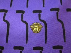 GIANNI VERSACE Men's LUXURIOUS 100% Silk Medusa Purple Black Gold Tie ITALY #GianniVersace #Tie