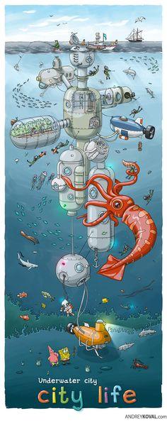 Underwater city by Andrey Koval, via Behance Pixel Art, Underwater City, Retro Futurism, Illustrations And Posters, Game Art, Doodle, Fantasy Art, Design Art, Concept Art