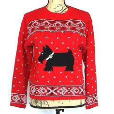 Marisa Canvas Saxs Fifth Avenue Womens Medium Red Scottie Dog Cropped Sweater
