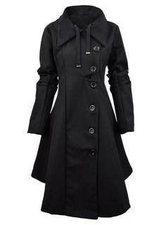 Azbro Women's Button Closure Asymmetrical Hem Black Cloak Coat, Black M