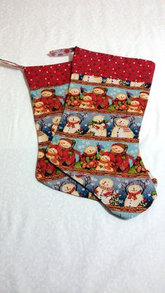 Pair of Christmas Stockings Snow Men by DesertSkyQuilts on Etsy