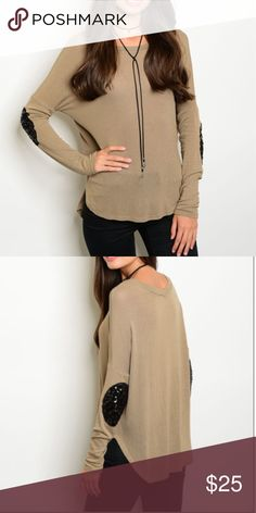 |NEW| Black Elbow Sequined Top A super fun and gorgeous top that is a light brown/tan color and black sequined elbow batches! Perfect fall piece. I am wearing a size small and I am wearing a size small. I bundle, just ask or use the bundle feature! -xoxo Boutique Tops Tees - Long Sleeve