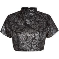 147 Fashion Silver Oriental Floral Crop Top