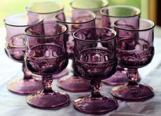 Vintage Kings Crown Indiana Glass Amethyst Cordials by BerlinGlass