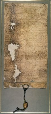 Magna Carta, the final version issued in 1225 by Henry III (vellum) Great Charter,Charter of Liberties,originally  issueded in  1215,King John (1167-1216) forced to agree to curbs on royal powe andauthority,CRT,DGT,teaty,manusript document,medieval,peace,rebelion,English barons.
