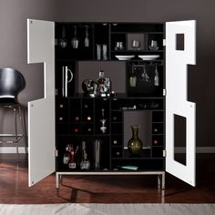 Eclipse Wine/Bar Cabinet - Sam's Club | White Bar Cabinet | Living Room Decor | Contemporary Furniture | Modern Cabinets | http://buffetsandcabinets.com/ #whitecabinets