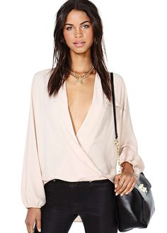 Pink Deep V Neck Long Sleeve Loose Blouse US$29.98