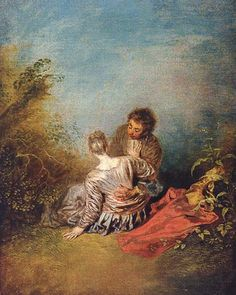 "Jean- Antoine Watteau:  Le Faux Pas, (The Mistake), 1716-18, oil on canvas, 1'3"" x 1' - The Louvre."