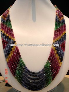 Source Designer ruby emerald sapphire Beaded Necklace Jewelry India - PayPal on m.alibaba.com