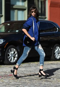 OOTD: Thania Peck Pays Tribute to Bill Cunningham in a Blue Jacket #RueNow