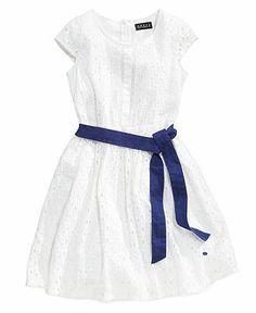 GUESS Girls Dress, Girls Eyelet Dress with Sash - Kids Girls Dresses - Macy's