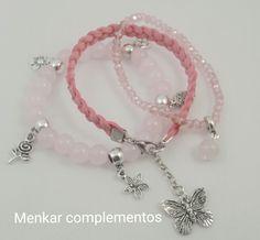 Pulsera triple combinada con cuarzo rosa, cristal y antelina. Mod. Primavera rosa