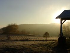 Early morning autumn frost on the farm.
