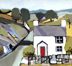 Signed Original Painting Acrylic on Board -Welsh Cottage - by Annabel Burton