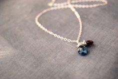 siren... topaz and garnet silver necklace / london blue topaz & garnet sterling silver necklace / december january birthstone