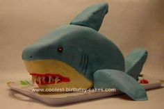 This Homemade Shark Birthday Cake Idea is a composite of every shark cake on this site. Thank you all for such wonderful advice and tips and pictures. Shark Birthday Cakes, Boy Birthday, Cool Sharks, Shark Cake, Beach Cakes, Candy Cakes, Shark Party, Cakes For Boys, Cupcake Cookies