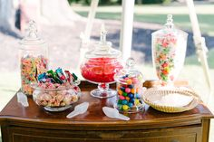 We love seeing candy stations like this at weddings! They add such a fun and colorful element to your reception, and are sure to be a crowd pleaser. Who doesn't love an excuse to load up on sweet treats? ;) ‪#‎candystation‬ ‪#‎lowcountrywedding‬ ‪#‎weddinginspiration‬ ‪#‎weddingdetails‬