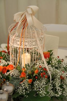 Flower Design Events: Birdcage table centrepiece at The Inn at Whitewell