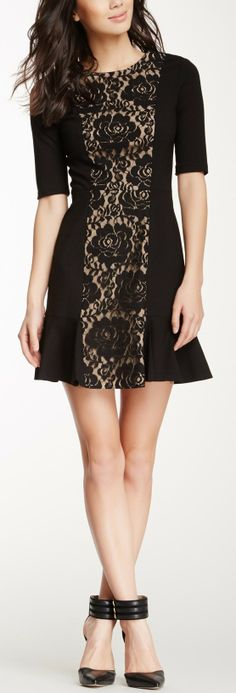 Simple but stated. Cynthia Steffe Skyler Lace Inset Dress