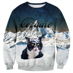 Cats love cocaine, period. Just look at this one, it can hardly contain itself. Whether you're a pussy-enthusiast, or you're in love with the coco, this jumper is for you. www.bittersweetparis.com
