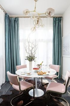 Pink Dining Room Chairs Chair And A Half Glider With Ottoman 15 Best Rooms Images Jewel Table Jpg Curtains In Living