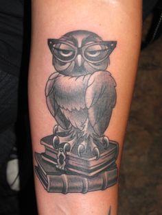 Thomas Graham, Super Genius Tattoo, Seattle WA, black and grey tattoo, owl, books, owl with reading glasses