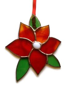 Poinsettia style stained glass flower by Diomo Glass