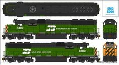 Paper model of the locomotive EMD Burlington Northern Paper Train, Diy And Crafts, Paper Crafts, Electric Train, Oragami, Orient Express, Paper Folding, Paper Models, Paint Cans