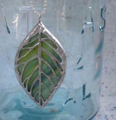 stained glass leaf necklace by zelma