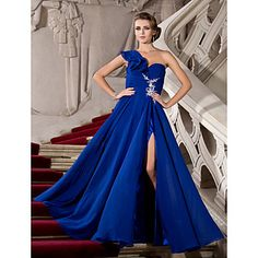 One Shoulder Floor length Chiffon with beaded applique detail.