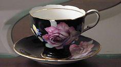 Vintage Paragon Black Pink Rose tea cup and saucer