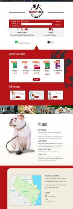 Sitio realizado en Wordpress Street Dogs, Wordpress, Shopping, Pet Food, Web Design
