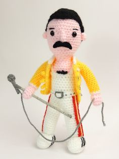 (must join site for pattern) Amigurumi Freddy Mercury - FREE Crochet Pattern / Tutorial Crochet Amigurumi Free Patterns, Crochet Doll Pattern, Crochet Dolls, Crochet Crafts, Crochet Projects, Love Crochet, Crochet Baby, Easy Crochet, Freddie Mercury