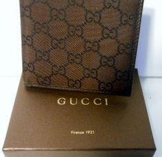 446642907e0a  250.00 GUCCI BROWN BLACK GUCCISSMA MONOGRAM LOGO BIFOLD MEN WALLET + FREE  GIFT Men Wallet