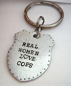 Police Cop Wife Girlfriend Support Keychain by StampedbyShaye, $20.00