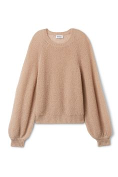 Joni Sweater is a slouchy knit piece in a soft mohair blend. It has a spacious fit with a ring neck, gathered raglan sleeves and ribbed details for a more