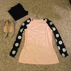 "Polka Dot Baseball Sleeve Tee⚾️ Pale pink tee with black & white polka dot baseball sleeves. Size M. Approx Meas: Chest 36.2"", Length 25.6"", Sleeve length 22"". Tee material stretchy, sleeve material, not stretchy. Tops"