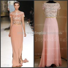 Wholesale Prom Dress - Buy 2013 Elie Saab Short Sleeves Coral Chiffon Beaded Crystals Bodice Prom Dresses to Get One Bracelet Freel, $229.0 | DHgate
