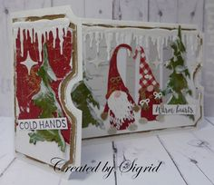 Christmas Cards 2018, Christmas Card Crafts, Christmas Gnome, Xmas Cards, Handmade Christmas, Holiday Cards, Ticket Card, Shaped Cards, Marianne Design