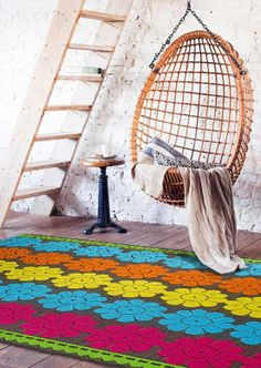 Luxor Living Teppich Leticia Flower multi Luxor, Boho, Retro, Hanging Chair, Vintage, Flowers, Home Decor, Pineapple, Floral Patterns