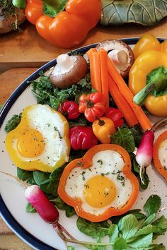 These sunny side up egg rings bring color to your plate and a smile to your day. Egg Rings, Avocado Egg, Recipe Of The Day, Brunch, Eggs, Yummy Food, Easter, Lovers, Stuffed Peppers