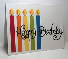 simple birthday card--vinyl Happy Birthday or with paper cut with Cricut