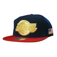 Mitchell   Ness Los Angeles Lakers USA HI Crown Snapback In Navy Red a5ed5a4e1eb