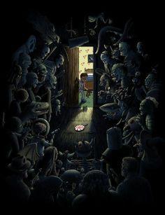 Be Afraid of the Dark Art Print by madewithawesome Arte Horror, Horror Art, Dark Art Photography, Creepy Pictures, Theme Halloween, Creepy Art, Monster Art, Fantasy Landscape, Dark Fantasy Art