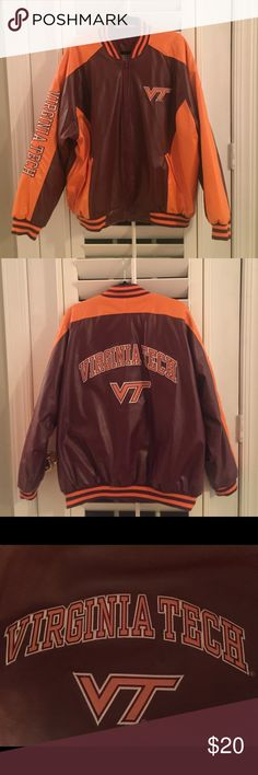 Men's VA Tech faux leather jacket (new w/o tags) Virginia Tech faux leather jacket in maroon and orange with embroidered name on the right sleeve. Quilted lining. Never worn-New, without tags. Steve & Barry's  Jackets & Coats Bomber & Varsity