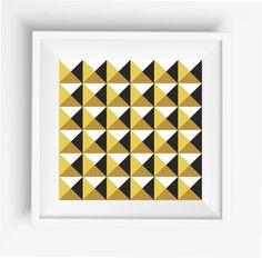 "Pyramids,abstract graphic pyramid,gold,black,white,digital prints,wall art printable,home decor,Triangles Art, Modern Art, 8""x 8"" inches"