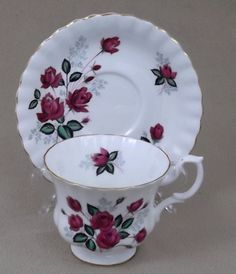 Teacup and Saucer Royal Albert Rose Pattern Fine Bone China in Pottery & Glass, Pottery & China, China & Dinnerware, Royal Albert | eBay